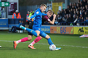 AFC Wimbledon striker Joe Pigott (39) scoring goal to make it 1-0 during the EFL Sky Bet League 1 match between AFC Wimbledon and Peterborough United at the Cherry Red Records Stadium, Kingston, England on 18 January 2020.