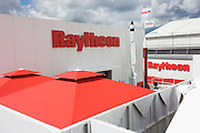 Model rockets at the Raytheon exhibition stand during the Farnborough airshow.