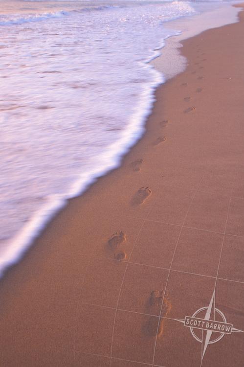 Footprints at the beach.