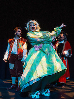 Jack Harding as Billy Trot, Mark Stephen Woods as Dame Dottie Trot and Ken Chapman as Baron Stoneyheart during dress rehearsal for Jack and the Beanstalk with Winnipesaukee Playhouse on Wednesday evening.  (Karen Bobotas/for the Laconia Daily Sun)