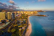Aerial, Ala Moana Beach Park, Waikiki, Honolulu, Oahu, Hawaii