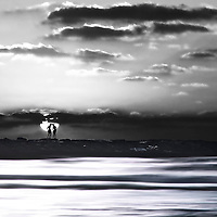 Scenic view with distorted landscape and sky with silhouetted figures