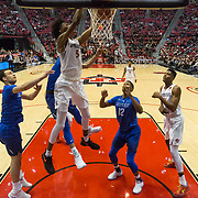 03 February 2018: The San Diego State Aztecs look to rebound after a couple losses against Air Force Saturday night. San Diego State Aztecs forward Jalen McDaniels (5) dunks the ball on a rebound during the second half. The Aztecs beat the Falcons 81-50 at Viejas Arena.<br /> More game action at www.sdsuaztecphotos.com