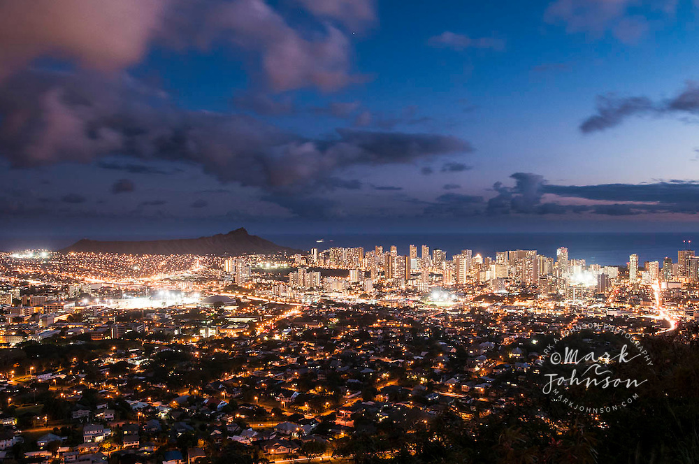 Night settles over Honolulu & Diamond Head, Oahu, Hawaii