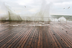 December 16, 2018 - Odesa, Ukraine - The waves hit the wooden boards of the embankment as the storm rages in the Black Sea, Odesa, southern Ukraine, December 16, 2018. Ukrinform. (Credit Image: © Nina Liashonok/Ukrinform via ZUMA Wire)