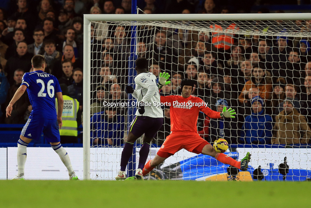 11 February 2015 - Barclays Premier League - Chelsea v Everton - Petr Cech of Chelsea saves a point blank range from  Romelu Lukaku of Everton - Photo: Marc Atkins / Offside.