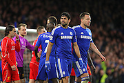 Chelsea's Diego Costa and Chelsea's John Terry during the Capital One Cup match between Chelsea and Liverpool at Stamford Bridge, London, England on 27 January 2015. Photo by Phil Duncan.