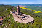 Aerial of the Kyffhaeuser Monument, Barbarossa monument, Thuringia, Germany