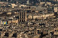 France. Paris. 7th district.  Notre Dame cathedral and Paris cityscape . Paris vue d'en haut, la cathedrale Notre Dame