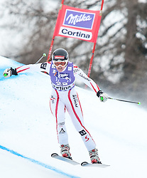 20.01.2011, Tofana, Cortina d Ampezzo, ITA, FIS World Cup Ski Alpin, Lady, Cortina, Abfahrt 2. Training, im Bild Blick von den Tribühnen im Bild Elisabeth Goergl (AUT, #22) // Elisabeth Goergl (AUT) during FIS Ski Worldcup ladies downhill second training at pista Tofana in Cortina d Ampezzo, Italy on 20/1/2011. EXPA Pictures © 2011, PhotoCredit: EXPA/ J. Groder