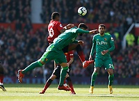 Football - 2018 / 2019 Premier League - Manchester United vs. Watford<br /> <br /> Marcus Rashford of Manchester United and Miguel Angel Britos of Watford tussle in midfield, at Old Trafford.<br /> <br /> COLORSPORT/ALAN MARTIN