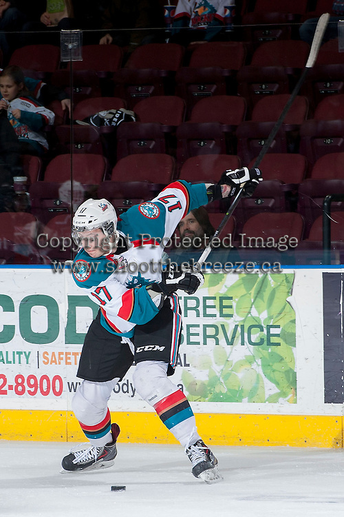 KELOWNA, CANADA -FEBRUARY 25: Marek Tvrdon #17 of the Kelowna Rockets takes a shot against the Prince George Cougars on February 25, 2014 at Prospera Place in Kelowna, British Columbia, Canada.   (Photo by Marissa Baecker/Getty Images)  *** Local Caption *** Marek Tvrdon;