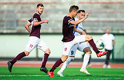 Tilen Mlakar of Triglav vs Mitja Lotrič of Celje during football match between NK Triglav and NK Celje in 7th Round of Prva liga Telekom Slovenije 2019/20, on August 25, 2019 in Sports park, Kranj, Slovenia. Photo by Vid Ponikvar / Sportida