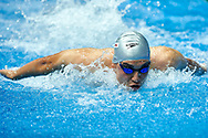 Ashgabat, Turkmenistan - 2017 September 24: Ezizguly Ballykow from Turkmenistan competes in Men's 50m Butterfly Heat 3 while Short Course Swimming competition during 2017 Ashgabat 5th Asian Indoor & Martial Arts Games at Aquatics Centre (AQC) at Ashgabat Olympic Complex on September 24, 2017 in Ashgabat, Turkmenistan.<br /> <br /> Photo by © Adam Nurkiewicz / Laurel Photo Services