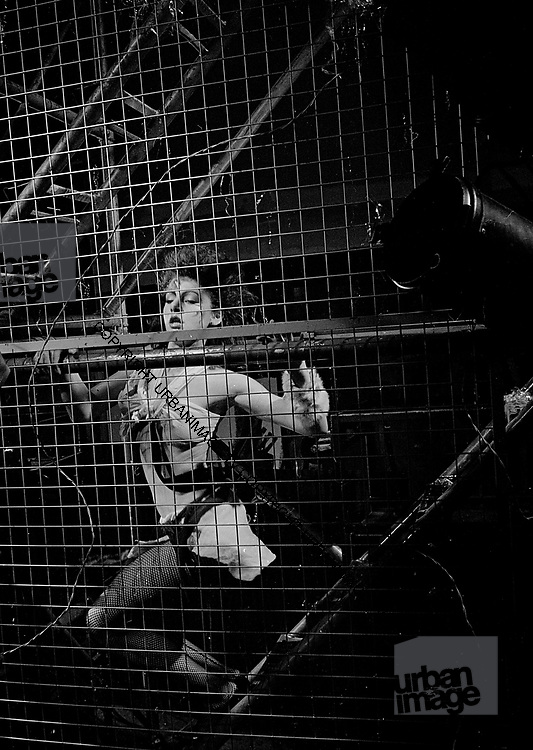 "Cage Girl on set at Def Leppard 1983 video ""Photograph"""