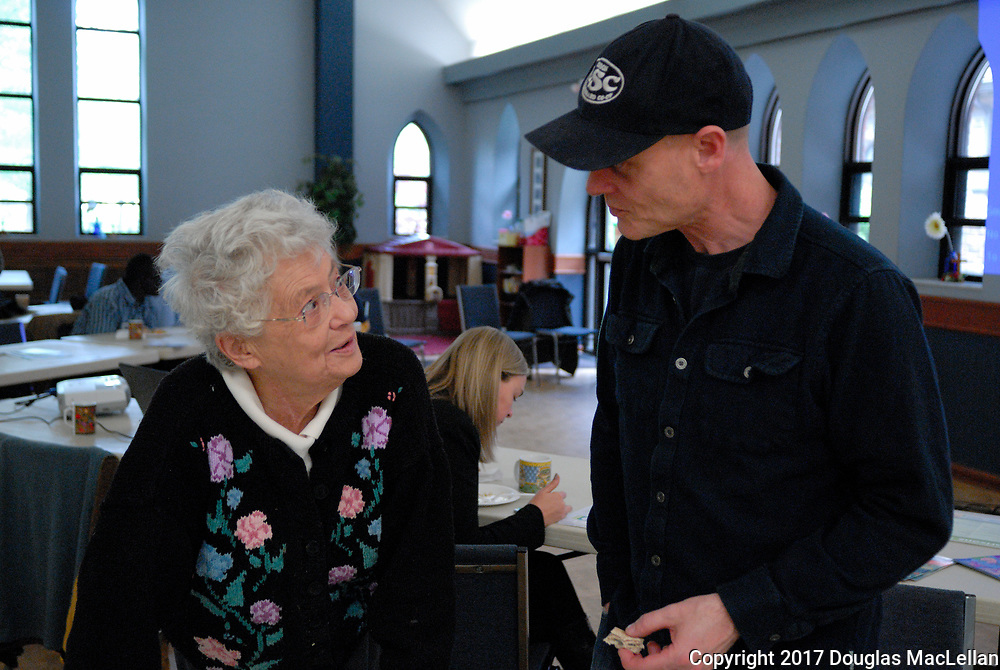 """CANADA, Windsor. May 2017. """"Building a Co-operative Culture in Windsor"""", an all day workshop at All Saints' Church. """"Building"""" is part of MayWorks Windsor 2017 programming. Left to right: Ann Beer, a long time Windsor activiist and retired bookseller, and Paul Roberts, a workshop leader and multi co-op member."""