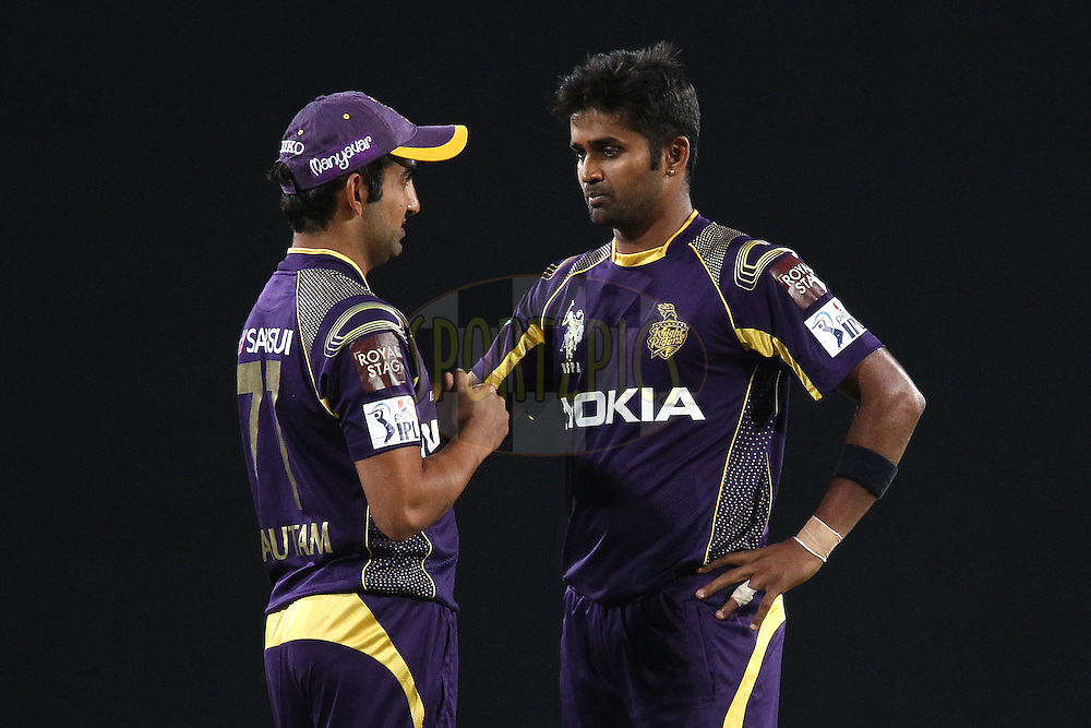Gautam Gambhir captain of the Kolkata Knight Riders  and RanganathVinay Kumar of the Kolkata Knight Riders  talk about field placings during match 21 of the Pepsi Indian Premier League Season 2014 between the Chennai Superkings and the Kolkata Knight Riders  held at the JSCA International Cricket Stadium, Ranch, India on the 2nd May  2014<br /> <br /> Photo by Shaun Roy / IPL / SPORTZPICS<br /> <br /> <br /> <br /> Image use subject to terms and conditions which can be found here:  http://sportzpics.photoshelter.com/gallery/Pepsi-IPL-Image-terms-and-conditions/G00004VW1IVJ.gB0/C0000TScjhBM6ikg