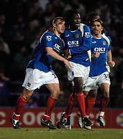 Photo: Daniel Hambury.<br />Portsmouth v Liverpool. The FA Cup. 29/01/2006.<br />Portsmouth's Sean Davis (L) celebrates his goal.