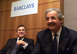Barclays take over The Woolwich. John Stewart (with dark hair,) chief executive  of Woolwich and Matthew Barrett (with moustache), Chief executive of Barclays, August 11, 2000..Photo by Andrew Parsons/i-Images.