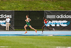 adidas Grand Prix Diamond League professional track & field meet: mens 5000 meters, Ben True, USA leads Jeilan