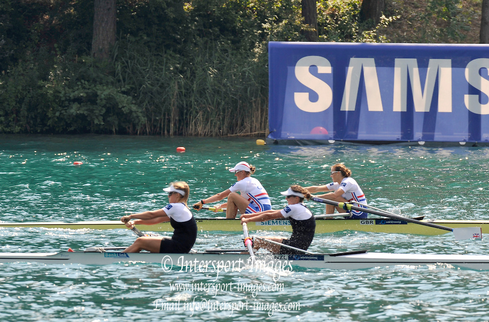 Bled, SLOVENIA. GBR W2- Final, Bow Helen GLOVER and Heather STANNING, Silver Medalist women's pair,   [Day Five]  at the 2011 FISA World Rowing Championships, Lake Bled. Thursday  01/09/2011  [Mandatory Credit; Peter Spurrier/ Intersport Images]