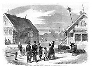 A group of Russian serfs in the village of Goumnist, between Kostroma and Yaroslav. By the Act of Liberation, 19 February 1861, Alexander II freed the serfs allowing them to own land. Engraving from 'The Illustrated London News' 2 March 1861.