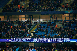 MANCHESTER, ENGLAND - Tuesday, March 15, 2016: Manchester City supporters banner 'Manchester... So much to answer for' before the UEFA Champions League Round of 16 2nd Leg match against FC Dynamo Kyiv at the City of Manchester Stadium. (Pic by David Rawcliffe/Propaganda)