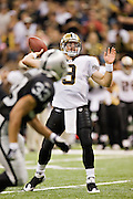 NEW ORLEANS, LA - OCTOBER 12:   Drew Brees #9 of the New Orleans Saints throws a pass against the Oakland Raiders at the Louisiana Superdome on October 12, 2008 in New Orleans, Louisiana.  The Saints defeated the Raiders 34-3.  (Photo by Wesley Hitt/Getty Images) *** Local Caption *** Drew Brees