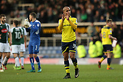 Final whistle, Oxford United 0-1 Plymouth Argyle, Gino van Kessel of Oxford United applauds the fans during the EFL Sky Bet League 1 match between Oxford United and Plymouth Argyle at the Kassam Stadium, Oxford, England on 17 February 2018. Picture by Jason Brown.