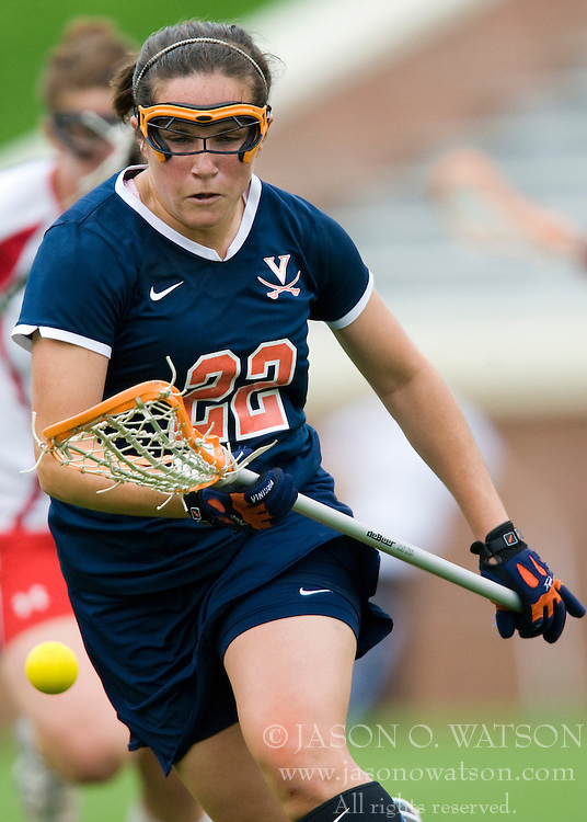Virginia Cavaliers D Claire Bordley (22) chases down a loose ball against Maryland.  The #3 ranked Virginia Cavaliers defeated the #2 ranked Maryland Terrapins 10-9 in overtime in the finals of the Women's 2008 Atlantic Coast Conference Lacrosse tournament at the University of Virginia's Scott Stadium in Charlottesville, VA on April 27, 2008.