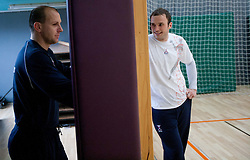 Gorazd Skof and Uros Zorman during practice session of Slovenian Handball Men National Team, on January 11, 2011, in Zrece, Slovenia. (Photo by Vid Ponikvar / Sportida)