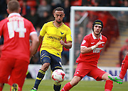 Oxford midfielder Kemar Roofe looks for an opening during the Sky Bet League 2 match between Leyton Orient and Oxford United at the Matchroom Stadium, London, England on 17 October 2015. Photo by Bennett Dean.