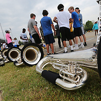 Tubas wait to be picked up and used as members of the Tupelo High School Marching Band begin their day at band camp Friday.