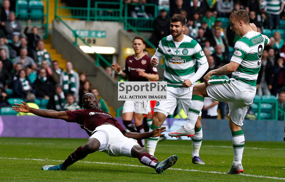 Celtic v Hearts....Leigh Griffiths takes a shot at goal as Juanma Delgado attempts to block his shot....(c) STEPHEN LAWSON | SportPix.org.uk