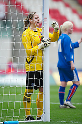 LLANELLI, WALES - Thursday, March 31, 2011: Iceland's goalkeeper Birna Berg Haraldsdottir in action against Turkey during the UEFA European Women's Under-19 Championship Second Qualifying Round (Group 3) match at Parc Y Scarlets. (Photo by David Rawcliffe/Propaganda)