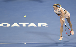 DOHA, Feb. 18, 2018  Petra Kvitova of the Czech Republic serves during the single's semifinal match against Caroline Wozniaki of Denmark at the 2018 WTA Qatar Open in Doha, Qatar, on Feb. 17, 2018. Petra Kvitova won 2-1. (Credit Image: © Nikku/Xinhua via ZUMA Wire)
