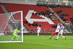 LIVERPOOL, ENGLAND - Tuesday, December 9, 2014: Liverpool's Jerome Sinclair scores the third goal against FC Basel during the UEFA Youth League Group B match at Langtree Park. (Pic by David Rawcliffe/Propaganda)