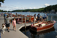 Antque boats filled the slips at the Alton Bay docks during the Antique Boat Show on Saturday morning.  (Karen Bobotas/for the Laconia Daily Sun)