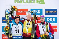 Second placed Quentin Fillon Maille (FRA), Winner Johannes Thingnes Boe (NOR) and Third placed Alexander Loginov (RUS) during flower ceremony after the Pursuit Men 12,5 km at day 8 of IBU Biathlon World Cup 2018/19 Pokljuka, on December 9, 2018 in Rudno polje, Pokljuka, Pokljuka, Slovenia. Photo by Urban Urbanc / Sportida