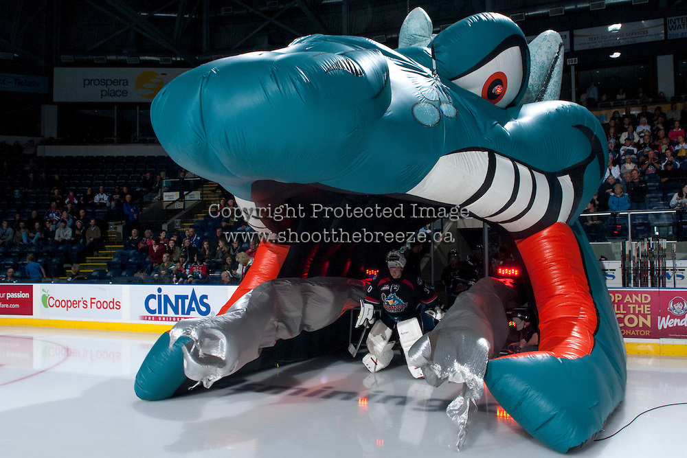 KELOWNA, CANADA - SEPTEMBER 28:  Jordon Cooke #30 of the Kelowna Rockets enters the ice against the Victoria Royals at the Kelowna Rockets on September 28, 2013 at Prospera Place in Kelowna, British Columbia, Canada (Photo by Marissa Baecker/Shoot the Breeze) *** Local Caption ***
