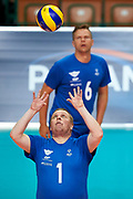 Katowice, Poland - 2017 September 03: Athlete Heikki Toyryla from SO Finland receives the ball while final match between SO Russia and SO Finland during European Unified Volleyball Tournament 2017 at Spodek Hall on September 03, 2017 in Katowice, Poland.<br /> <br /> Adam Nurkiewicz declares that he has no rights to the image of people at the photographs of his authorship.<br /> <br /> Picture also available in RAW (NEF) or TIFF format on special request.<br /> <br /> Any editorial, commercial or promotional use requires written permission from the author of image.<br /> <br /> Image can be used in the press when the method of use and the signature does not hurt people on the picture.<br /> <br /> Mandatory credit:<br /> Photo by &copy; Adam Nurkiewicz / Mediasport