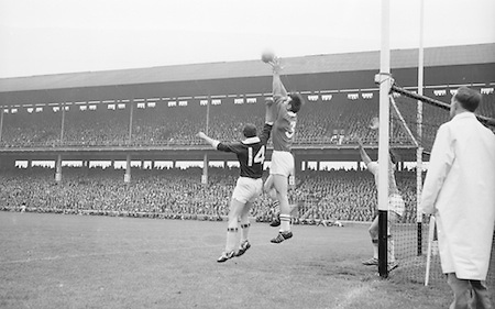 Player jump for the ball near the goal during the All Ireland Senior Football Championship Final Galway v Meath in Croke Park on the 25th September 1966. Galway 1-10 Meath 0-7.