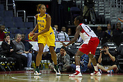 Team Brazil center Erika de Souza looks to pass during the 2012 USA Women's Basketball Team versus Brazil at Verizon Center in Washington, DC.  July 16, 2012  (Photo by Mark W. Sutton)