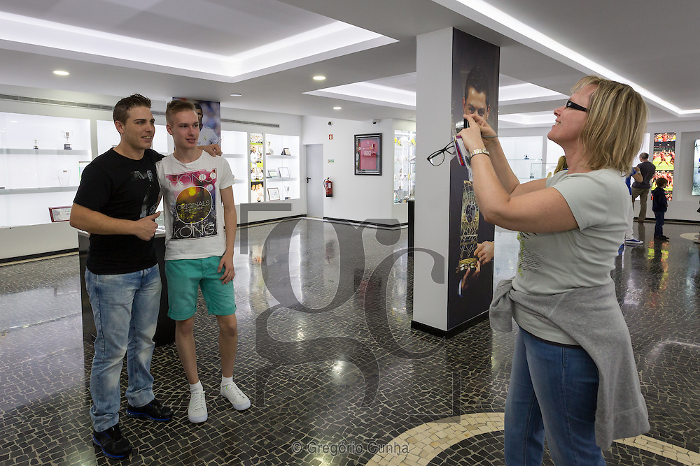 Portugal, MADEIRA, Funchal city : Visitors take pictures with Cristiano Ronaldo cousin, Nuno Aveiro,  on CR7 museum dedicated to the professional career of Portuguese footballer and current country captain Cristiano Ronaldo.<br /> Photo Greg&oacute;rio Cunha