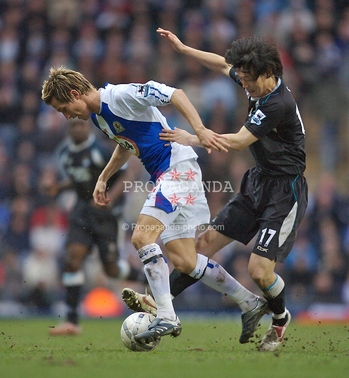 Blackburn, England - Sunday, March 11, 2007: Manchester City's Jihai Sun and Blackburn Rovers' Morten Gamst Pedersen during the FA Cup Quarter Final at Ewood Park. (Pic by David Rawcliffe/Propaganda)