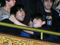 """DIEGO MARADONA with Atletico de Madrid soccer player SERGIO KUN AGUERO, where together in family to a music show in Buenos June 27, 2008, Argentina <br /> The Show was in Avellaneda, with the performance of the Tropical CUMBIA music group Los Leales"""".<br /> SERGIO AGUERO are in LOVE with MARADONA daughter GIANINNA.<br /> At right MAradona EX WIFE CLAUDIA VILLAFAÑE<br /> ©PikoPress"""
