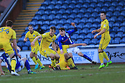 Ollie Rathbone challenged in the penalty area during the EFL Sky Bet League 1 match between Rochdale and Bristol Rovers at Spotland, Rochdale, England on 4 February 2017. Photo by Daniel Youngs.