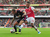 Football - 2019 / 2020 Premier League -  Arsenal vs. AFC Bournemouth<br /> <br /> Pierre - Emerick Aubameang of Arsenal and Steve Cook of Bournemouth, at The Emirates Stadium.<br /> <br /> COLORSPORT/ANDREW COWIE
