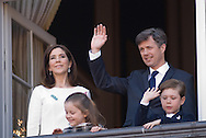 16.04.13. Copenhagen, Denmark.Queen Margrethe II celebrates her 73th birthday with her whole family, From left to right, Crownprincess Mary, Princess Isabella,Crownprince Frederik and Prince Christian. The royal family appears on the balcony of Christian IX's Palace at Amalienborg Palace.Photo: © Ricardo Ramirez