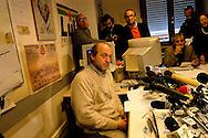 Roma  4 Febbraio 2005.Conferenza stampa nelle sede del giornale Il Manifesto,in  via Tomacelli, per il rapimento di Giuliana  Sgrena  inviata del giornale in Iraq. Gabriele Polo direttore del Il Manifesto